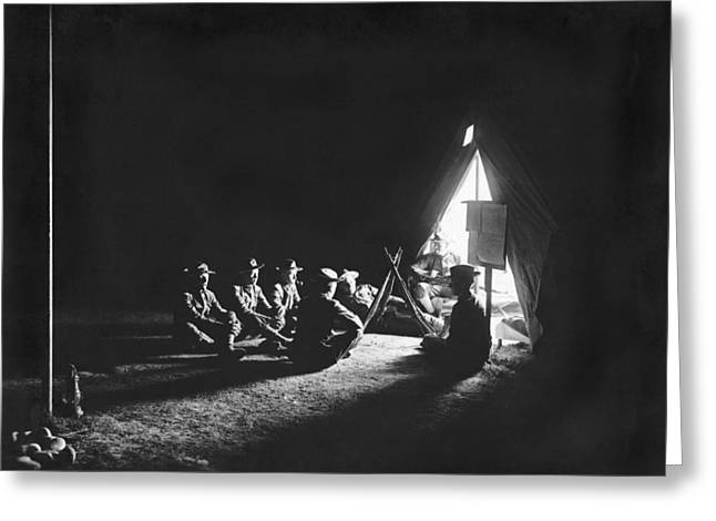 Soldiers At Camp At Night Greeting Card