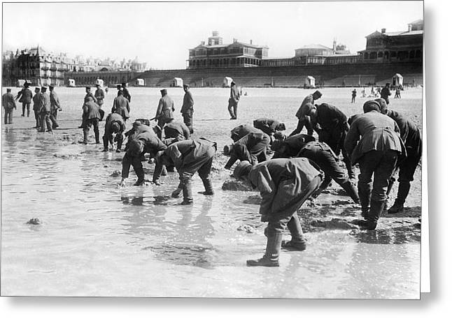 Soldiers Collecting Seashells Greeting Card by Underwood Archives