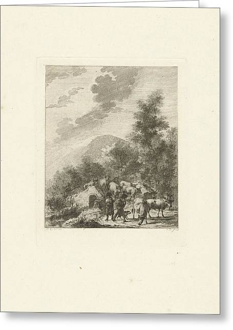 Soldiers Drive A Herd Of Cows On A Bridge Greeting Card