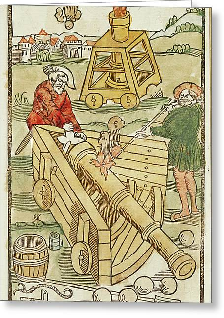 Soldiers Firing A Cannon Greeting Card by British Library