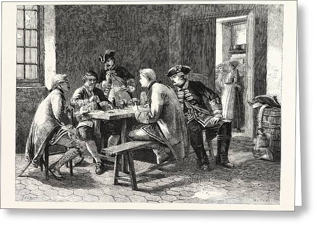 Soldiers Playing At Cards Greeting Card