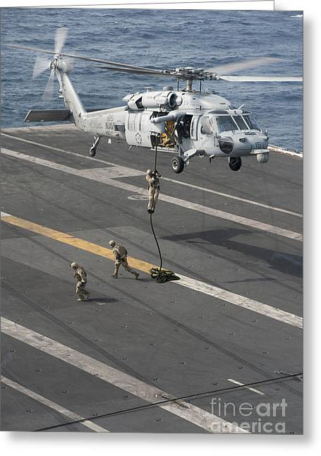 Soldiers Rappel From An Mh-60s Sea Hawk Greeting Card