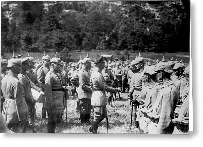 Soldiers Receive Iron Crosses Greeting Card by Underwood Archives