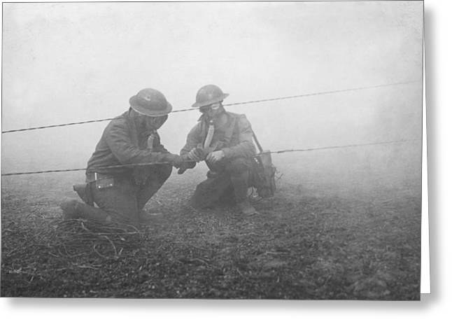 Soldiers Repairing Telephone Wire Greeting Card