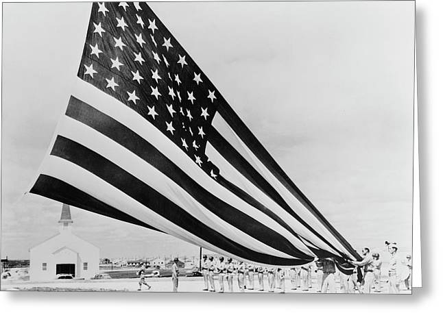 Soldiers Unfolding Garrison Flags Greeting Card by Stocktrek Images