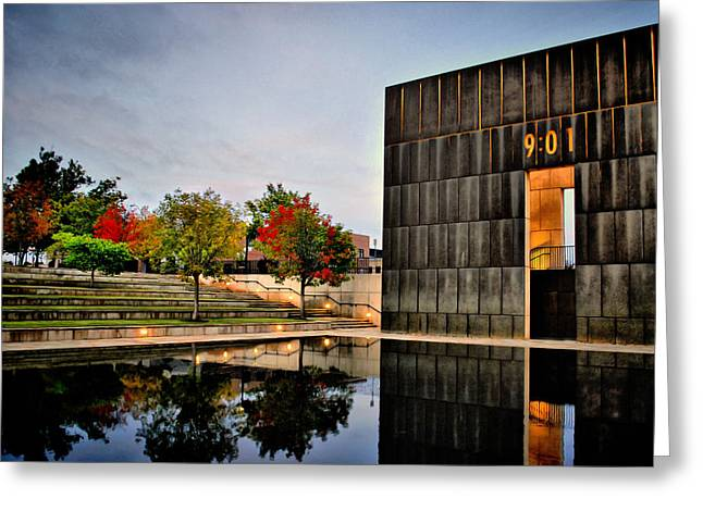 Solemn Reflections - Okc Memorial Greeting Card by Gregory Ballos