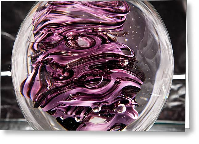 Solid Glass Sculpture Rp5 - Purple And White Greeting Card by David Patterson