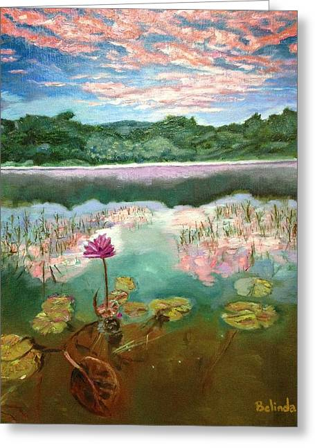 Greeting Card featuring the painting Solitary Bloom by Belinda Low