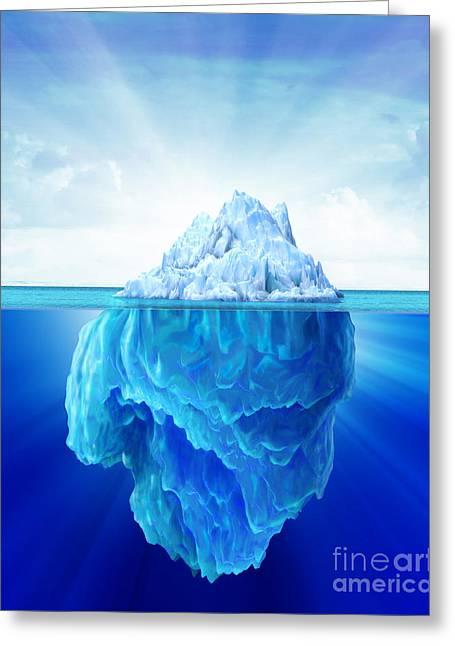 Solitary Iceberg In The Sea Greeting Card by Leonello Calvetti