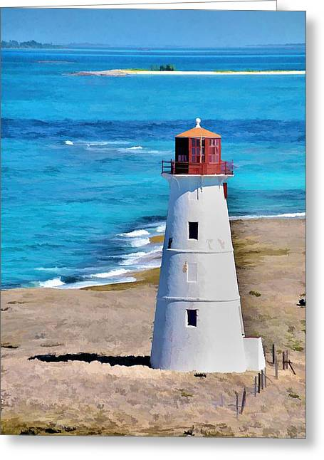 Solitary Lighthouse Greeting Card by Pamela Blizzard
