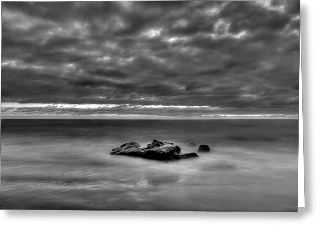 Solitary Rock - Black And White Greeting Card by Peter Tellone