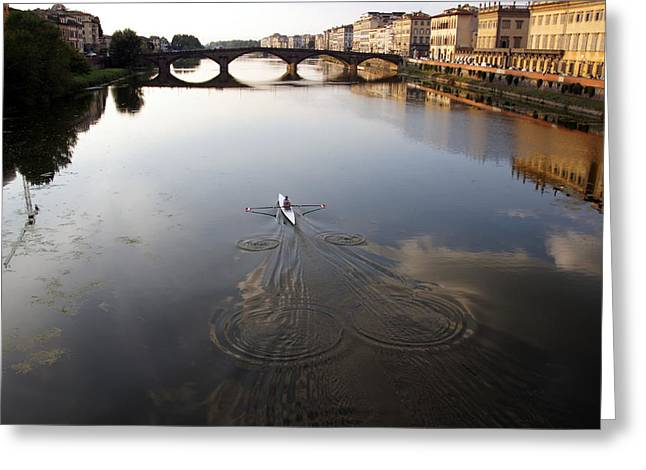 Solitary Sculler Greeting Card