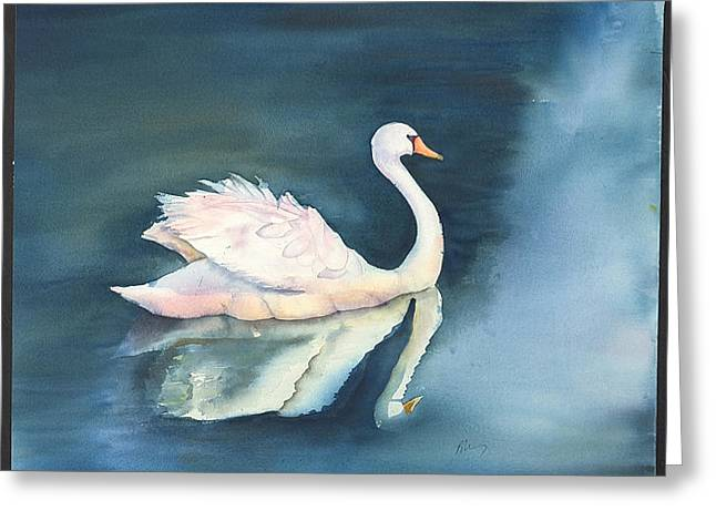 Solitary Swan Greeting Card by Bonny Lundy