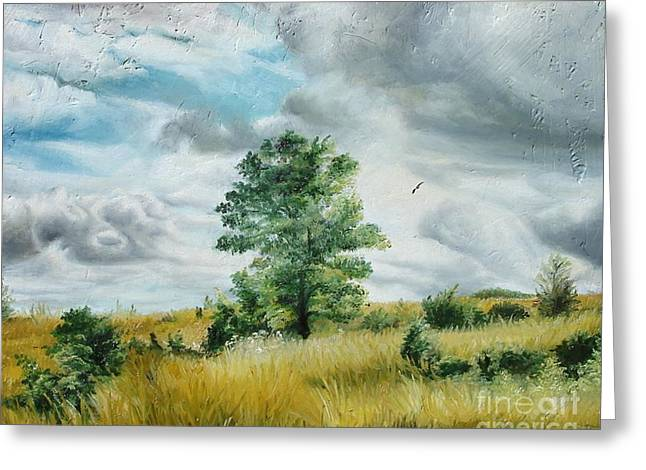 Greeting Card featuring the painting Solitude by Sorin Apostolescu
