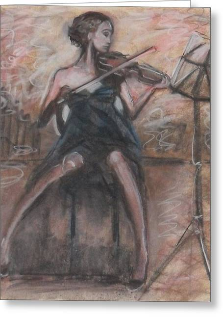 Greeting Card featuring the painting Solo Concerto by Jarmo Korhonen aka Jarko