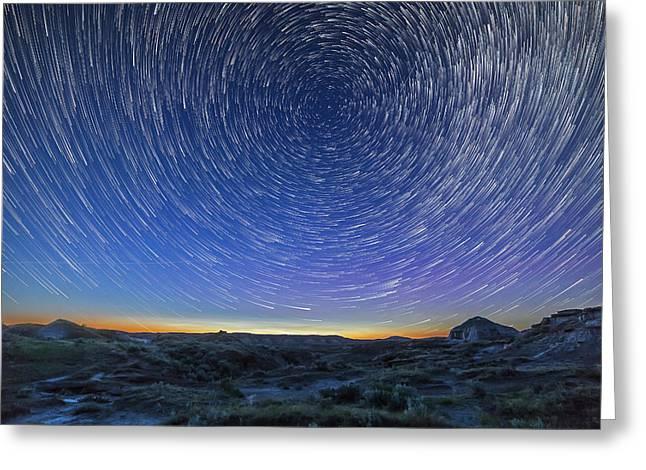 Solstice Star Trails At Dinosaur Park Greeting Card