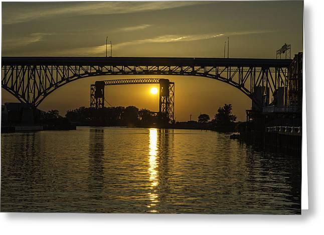 Solstice Sun Through Two Bridges Greeting Card