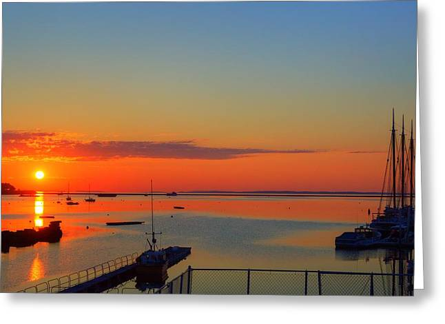 Solstice Sunrise In Rockland Maine Greeting Card by Tim Sullivan