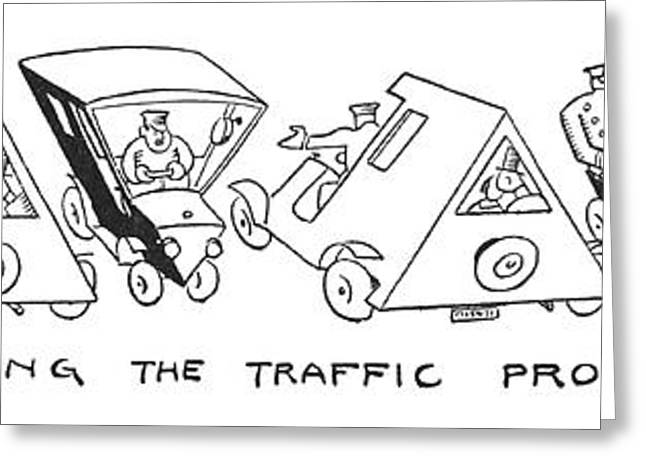 Solving The Traffic Problem Greeting Card by Alfred Frueh