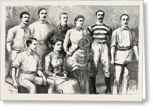Some English Lawn Tennis Players, Engraving 1884, Uk Greeting Card by English School