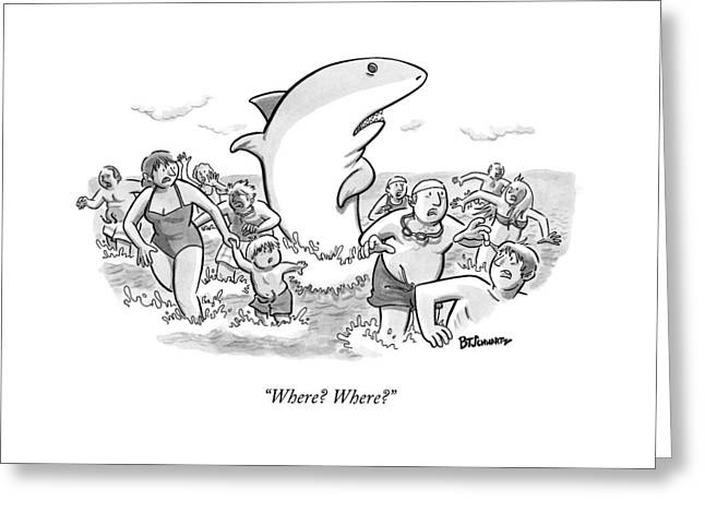 Someone Has Just Yelled Shark! At The Beach Greeting Card