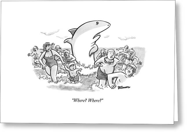 Someone Has Just Yelled Shark! At The Beach Greeting Card by Benjamin Schwartz