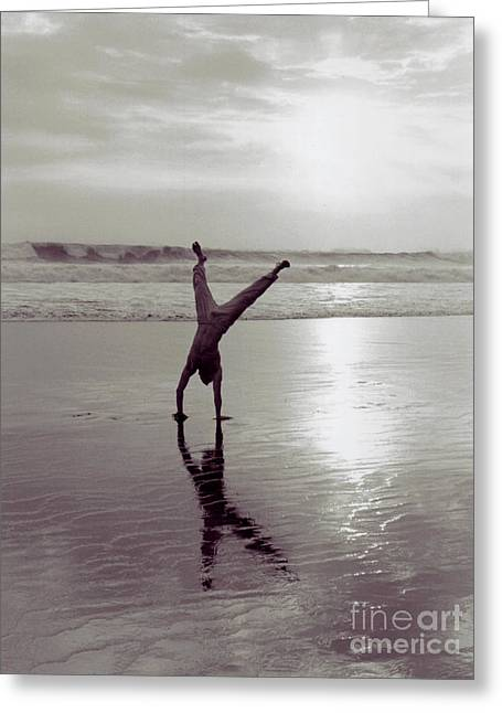 Greeting Card featuring the photograph Somersalting On Bali Black Sand Beach 2 by Mukta Gupta