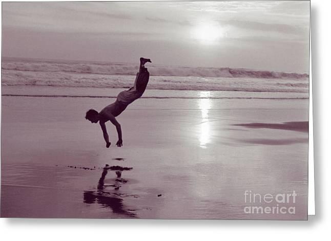Somersalting On Bali Black Sand Beach Greeting Card