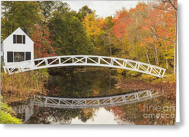 Somesville Bridge In Autumn Mount Desert Island Maine Greeting Card