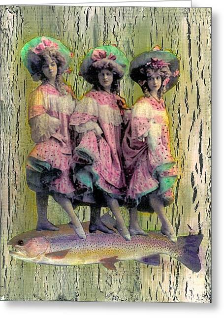 Greeting Card featuring the mixed media Somethin' Fishy by Desiree Paquette