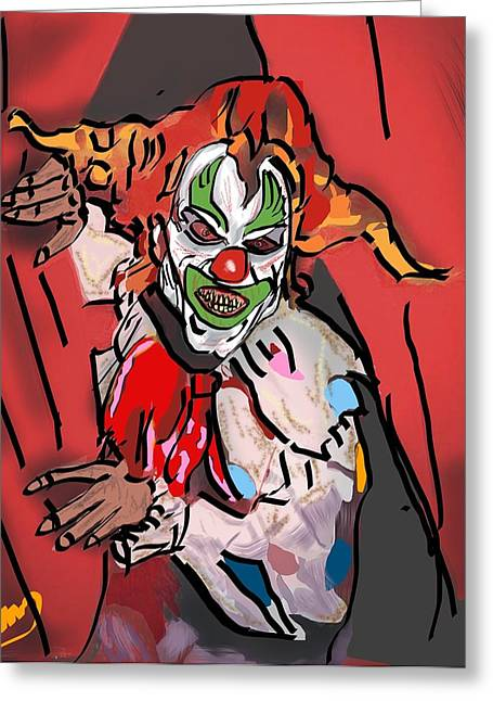 Something About A Clown Greeting Card by Michael Bartlett