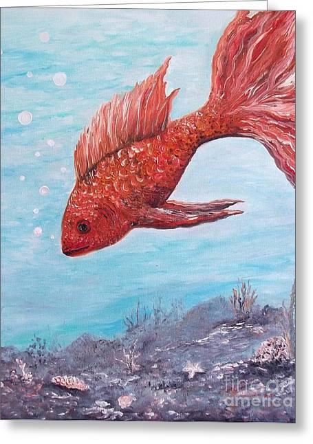 Something Is Fishy Greeting Card by Rhonda Lee