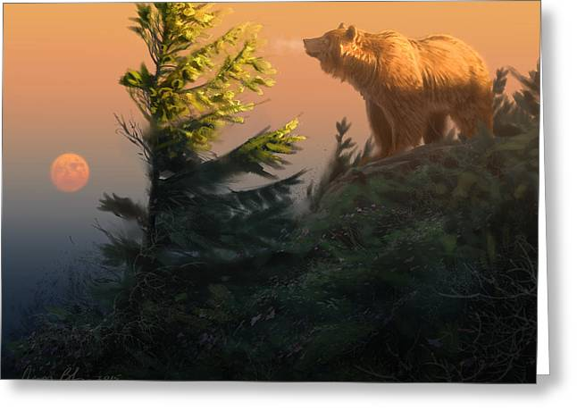 Something On The Air - Grizzly Greeting Card by Aaron Blaise