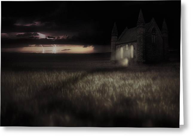 Something Wicked - Lightning - Chapel - Gothic Greeting Card