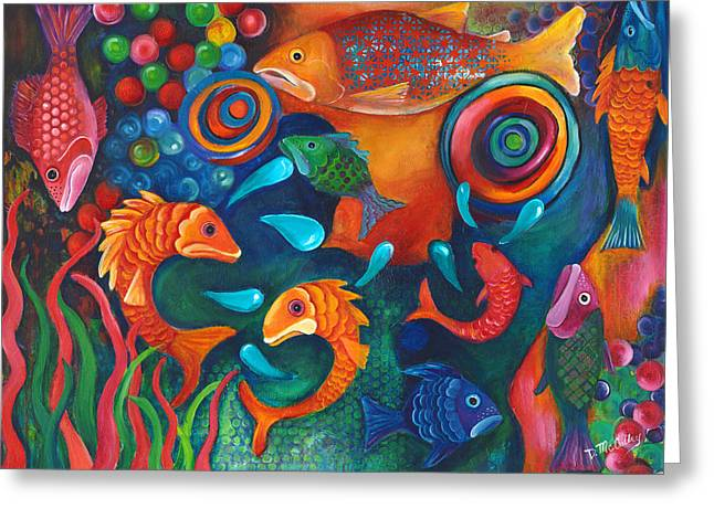Something's Fishy Greeting Card by Debbie McCulley