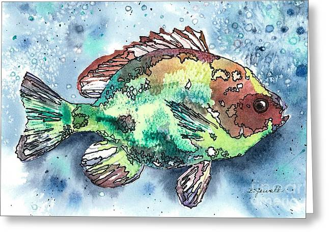 Greeting Card featuring the painting Something's Fishy Two by Barbara Jewell