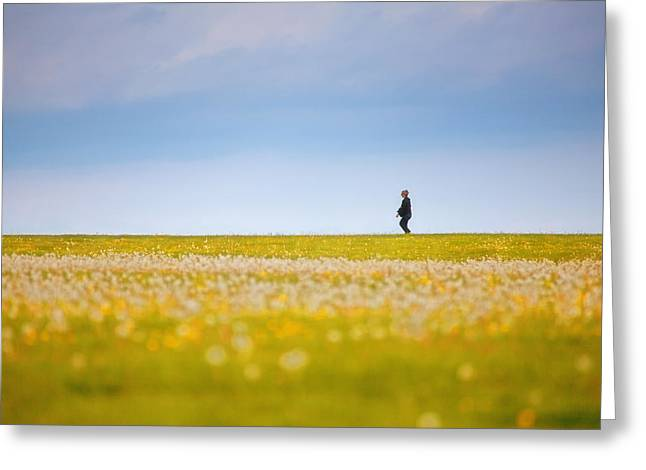 Sometimes We All Walk Alone Greeting Card by Karol Livote