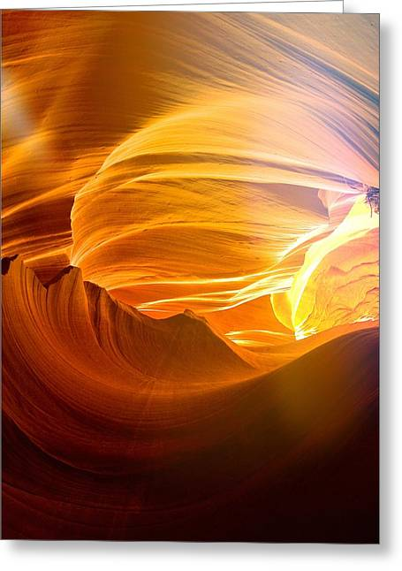Greeting Card featuring the photograph Somewhere In America Series - Gold Colors In Antelope Canyon by Lilia D
