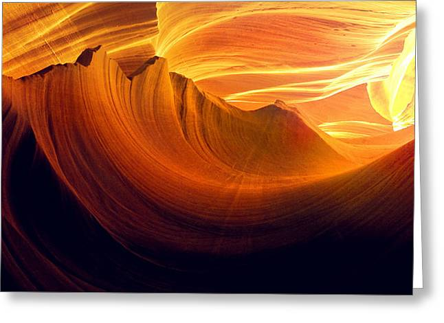 Greeting Card featuring the photograph Somewhere In America Series - Golden Yellow Light In Antelope Canyon by Lilia D