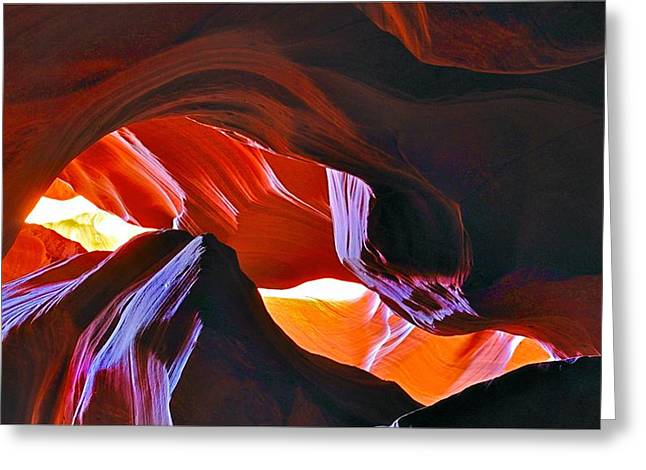 Greeting Card featuring the photograph Somewhere In Waves In Antelope Canyon by Lilia D