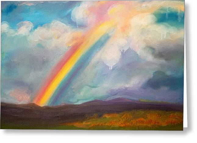 Somewhere Over The Rainbow Greeting Card by Anne Cameron Cutri