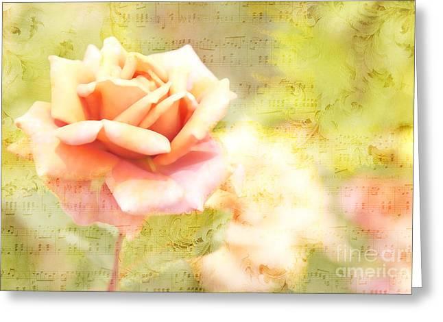 Song Of Spring II - Lovely Pale Orange Rose Greeting Card