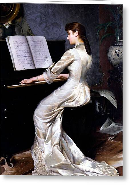 Song Without Words, Piano Player, 1880 Greeting Card