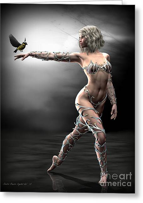 Greeting Card featuring the digital art Songbird by Sandra Bauser Digital Art