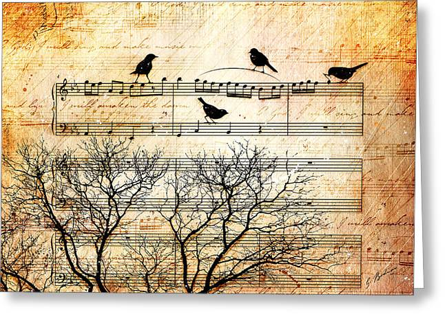 Songbirds Greeting Card by Gary Bodnar