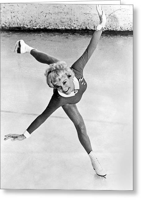 Sonia Henie Glides On Ice Greeting Card by Underwood Archives