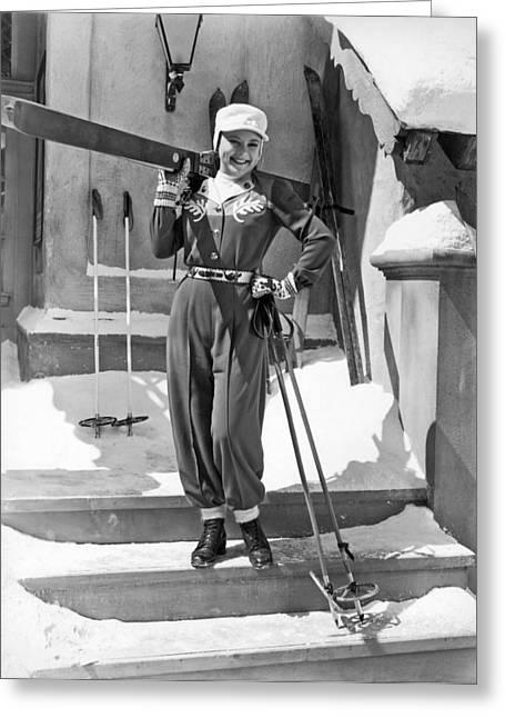 Sonja Henie With Ski Gear Greeting Card by Underwood Archives