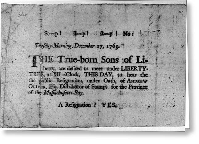 Sons Of Liberty Broadside Greeting Card by Granger