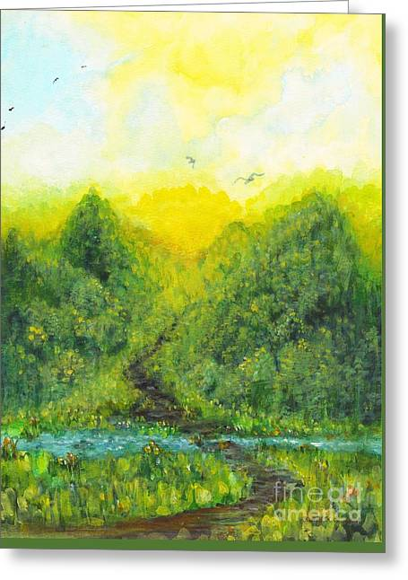 Greeting Card featuring the painting Sonsoshone by Holly Carmichael