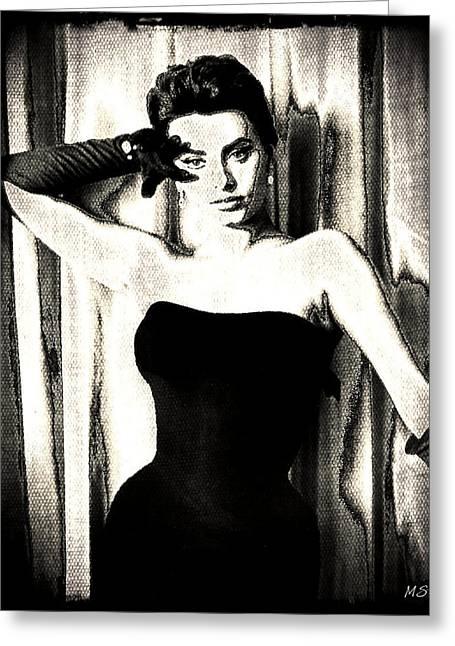 Sophia Loren - Black And White Greeting Card